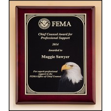 Rosewood Piano-Finish Plaque with Eagle Head